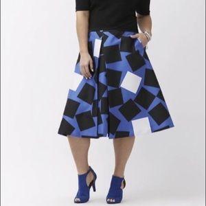 NWT Lane Bryant Square Pleated A Lino Midi Skirt